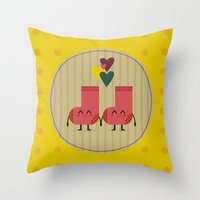socks Throw Pillows featuring socks by ValoValo