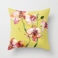 Pink Orchids in Yellow Throw Pillow