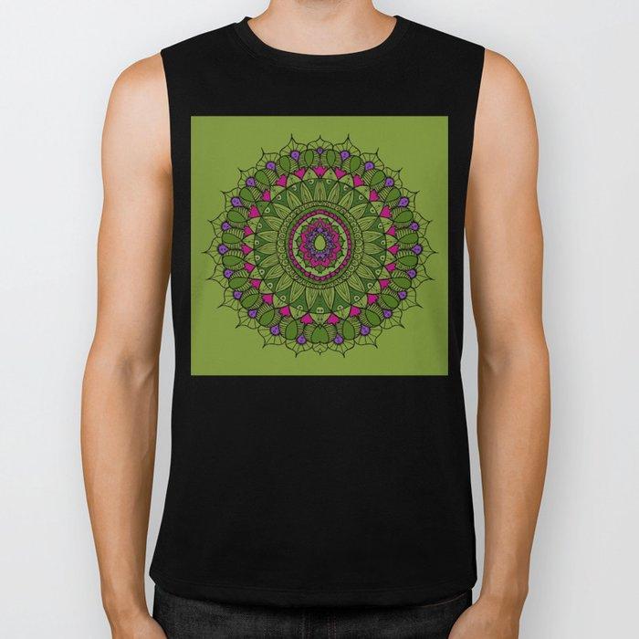 Bohemian Mandala in Green with Pink and Purple Biker Tank