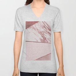 Spliced mixed pinks rose gold marble Unisex V-Neck
