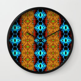 Blue Gold Ribbon  Snake Skin Fractal Wall Clock