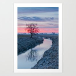 Colorful Sunrise On The River Art Print