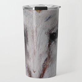 Barn Owl Impressionist Fine Art Travel Mug