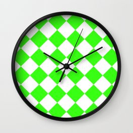 Large Diamonds - White and Neon Green Wall Clock