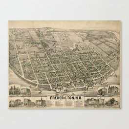 Vintage Pictorial Map of Fredericton New Brunswick (1882) Canvas Print