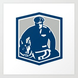 Canine Policeman With Police Dog Retro Art Print