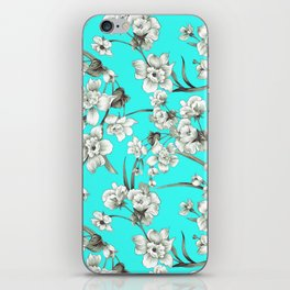 Modern teal brown white abstract floral iPhone Skin