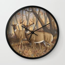 Whitetail Deer Trophy Buck and Doe in Autumn Wall Clock