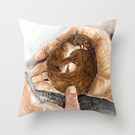 A little weasel in his hand Throw Pillow
