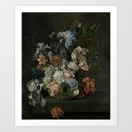 Still Life with Flowers, Cornelia van der Mijn, 1762 Art Print
