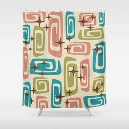 Mid Century Modern Cosmic Galaxies 436 Olive Blue and Dusty Rose Shower Curtain
