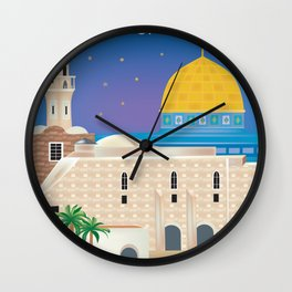Jerusalem - Skyline Illustration by Loose Petals Wall Clock