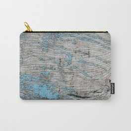 Peeled Blue Paint on Wood rustic decor Carry-All Pouch