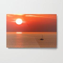 Sun setting creating beautiful sunset scene, Alanya, Turkey Metal Print
