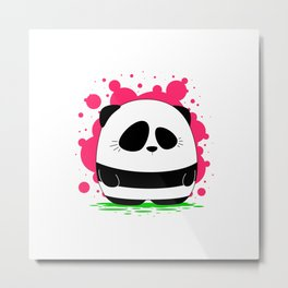 Panda Plopz Metal Print