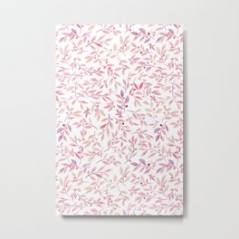 Leaves and Berries | Blush Palette Metal Print