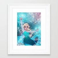 frozen elsa Framed Art Prints featuring Frozen Elsa by Teo Hoble