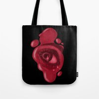 psycho Tote Bags featuring PSYCHO by rodouyeha