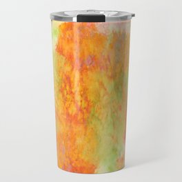 PASTEL IMAGININGS 3 Colorful Pretty Spring Summer Orange Yellow Peach Abstract Watercolor Painting Travel Mug
