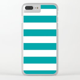 Horizontal Stripes Pattern: Teal Clear iPhone Case