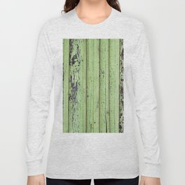 Rustic mint green grunge wood panels Long Sleeve T-shirt