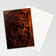 angry wolf fire Stationery Cards