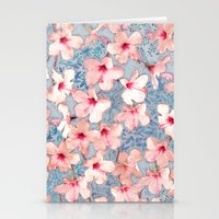 bedding Stationery Cards featuring Shabby Chic Hibiscus Patchwork Pattern in Pink & Blue by micklyn