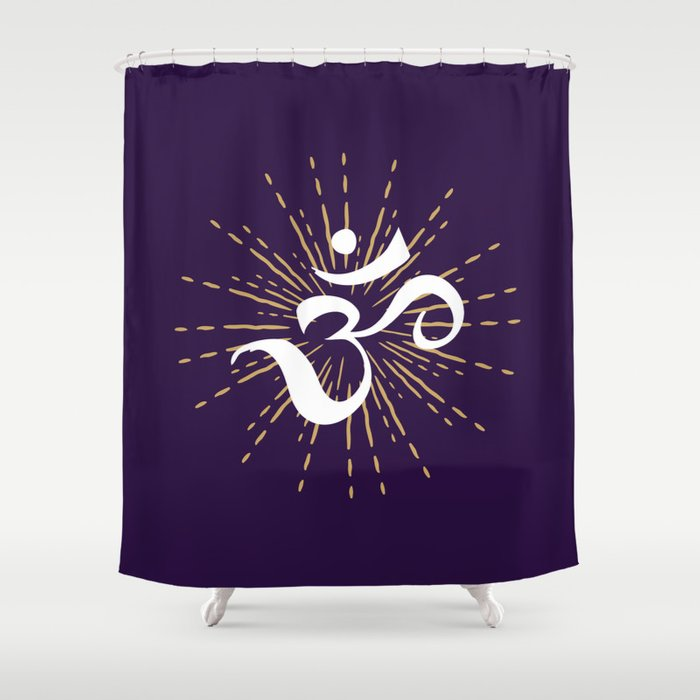 Om Mantra Universal Energy Purple Shower Curtain By Greennatural