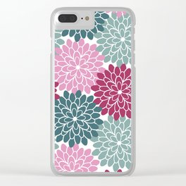 Petals in Rose, Maroon and Light and Dark Cyan Clear iPhone Case