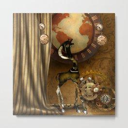 Cute steampunk giraffe with clocks and gears Metal Print