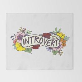 Floral Introvert Banner Throw Blanket