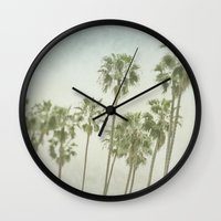 palm trees Wall Clocks featuring Palm Trees by Pure Nature Photos