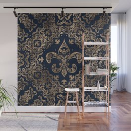 Luxury Fleur-de-lis Ornament - gold and dark blue Wall Mural