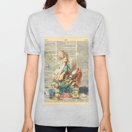 Vintage Alice In Wonderland on a Dictionary Page Unisex V-Neck