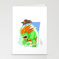 street fighter Stationery Cards featuring STREET FIGHTER - BLANCA by mirojunior