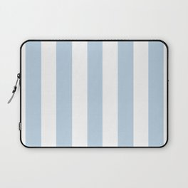 Beau blue - solid color - white vertical lines pattern Laptop Sleeve