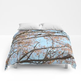 Rowan tree branches with berries and bird Comforters