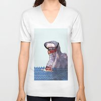hippo V-neck T-shirts featuring Hippo by MGNFQ