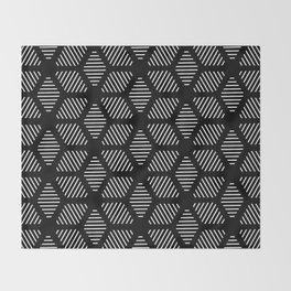 Geometric Line Lines Diamond Shape Tribal Ethnic Pattern Simple Simplistic Minimal Black and White Throw Blanket
