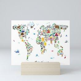 Animal Map of the World for children and kids Mini Art Print