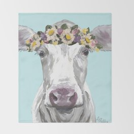 Cute Cow Up Close, Flower Crown Cow Throw Blanket