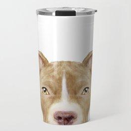 Pit Bull light Brown 2,Dog illustration original painting print Travel Mug