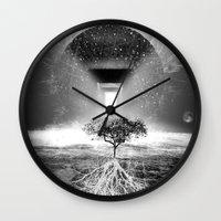 tree of life Wall Clocks featuring Life Tree by Murat Erturk