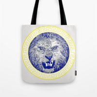 versace Tote Bags featuring Versace Lion by Hans Poppe