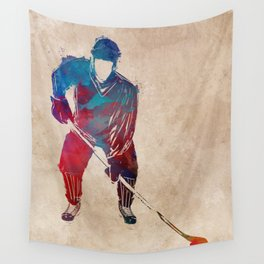 hockey player #hockey #sport Wall Tapestry