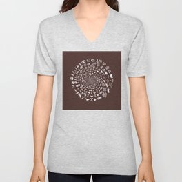 For the Love of Chocolate: Love Symbols Mandala Unisex V-Neck