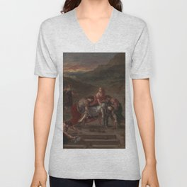 Eugne Delacroix - Saint Stephen Borne Away by his Disciples Unisex V-Neck