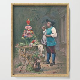 Jehan Georges Vibert - The contented gardener - Digital Remastered Edition Serving Tray