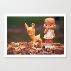 Girl with fawn Canvas Print