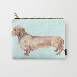 A long dog: Dachshund doxie puppy dog watercolor pet portrait Carry-All Pouch